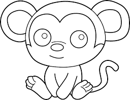 Easy Coloring Pages Monkey For Kids To Print