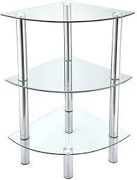 anaelle pandamoto eckregal aus gehärtetem glas chrom für