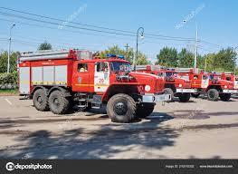 100 New Fire Trucks Krasnoyarsk Russia August 2018 Solemn Delivery Crews