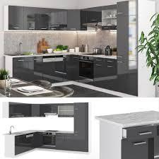 vicco küchenzeile r line eckküche winkel küche einbauküche anthrazit hochglanz