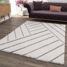 shaggy teppich diagonale streifen design creme grau modern vimoda homestyle