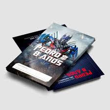 Convite Transformers Optimus Prime PARA IMPRIMIR