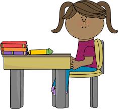 School Girl Sitting at a Desk Clip Art School Pinterest