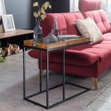 beistelltisch sheeshamholz 70x65x34 cm mit metallgestell design tv tray tabletttisch wohnzimmer kleiner palisander serviertisch naturholz