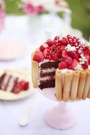 sommerlich in pastell schoko nuss torte mit roten beeren