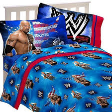3pc wwe wrestling twin bed sheet set the rock wrestle mania