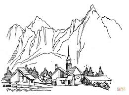 Click The Village In Mountains Coloring Pages To View Printable Version Or Color It Online Compatible With IPad And Android Tablets