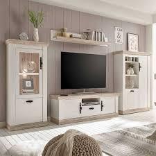 tv anbauwand im scandi landhaus stil nedita in weiß shabby pinie dekor 4 teilig