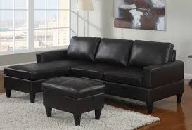 Poundex F7297 1 3 pc black faux leather apartment size sectional