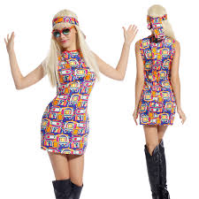 60s 70s Fancy Dress Costume Flower Power HIPPY HIPPIE RETRO GOGO