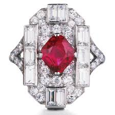 deco ruby and ring ruby and platinum deco ring ruby 2 05 carats