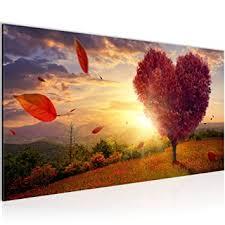 bilder herbst baum herz wandbild 100 x 40 cm vlies fertig