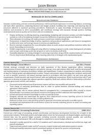 Data Compliance Manager Resume Example Financial Investment Analyst