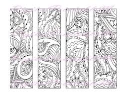 Printable Bookmark Coloring Page Book Mark Adult Instant
