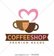 Coffee Shop Logo With Love Premium Beans Art Icon On White Background Beige And Dark Cup Of Drink United By Pink Heart Vector Illustration Hot Ground