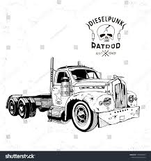 100 Rat Rod Semi Truck Diesel Punk Vector Sketch Stock Vector Royalty Free