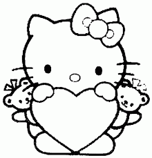 Hello Kitty Heart Coloring Pages Valentines Day