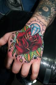 Diamond N Rose Hand Tattoo