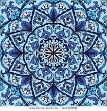 Vector Ornate Pattern With Floral Elements Oriental Blue Ornament Colorful Template For Carpet