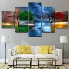 großhandel hd gedruckt 5 stück leinwand kunst 4 jahreszeiten ändern baum wand malerei druck leinwand wandbilder für wohnzimmer paintingart2017
