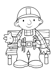 Bob The Builder Sitting Rest Coloring Pages For Kids Printable