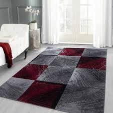 moderner designer wohnzimmer teppich karo muster schwarz grau rot meliert