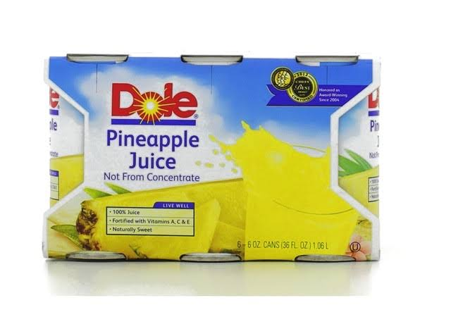 Dole Pineapple Juice - 6oz, 6pk