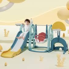 spielplatz kinder rutsche mit schaukel 5 in 1 spielturm kletterturm indoor aktivitätszentrum für kinder inkl basketballständer