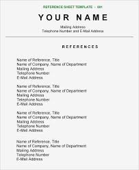 Reference Sheet Format Resume List Professional References Sample Template Job Of Proper Simple Nor