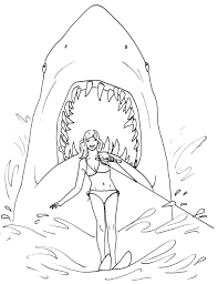 Fantastic Great White Shark Attack Coloring Page