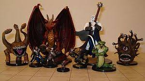 Dungeons Dragons Miniature Figures The Grid Mat Underneath Uses One Inch Squares
