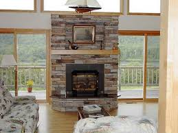 Indoor Stone Fireplaces Designs For Cozy Family Room With Wooden Flooring