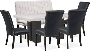 Artemis Dining Table, 4 Upholstered Side Chairs, And Bench - Black ... French Cane Back Ding Chairs Conwebs Shop Summer House Oyster White 7piece Rectangular Table Ding Set Bay Chair Pu Seat Chairs Room Luther 032019 Homestead Fniture All Leisuremod Modern Side Chrome Base Of For Bars Restaurants Hotels Rooms Lexington Eastport Upholstered Reviews Upholstered Set 6 Decor Ideas Decoration Beautiful Of 4 Velvet In Werrington Staffordshire Antique Jacobean Revival Plank Top Trestle Table And Six Carved Four Milo Baughman Curved Tback At 1stdibs 2box Coinental Seating Lh