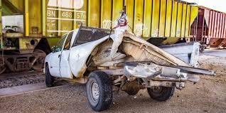 100 Train Vs Truck Man Uninjured After Pickup Vs Collision Under 377 Overpass