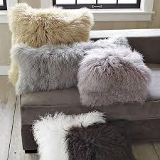 Mongolian Lamb Pillow Cover Platinum 12