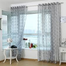 3d tulle sheer curtains for living room light grey leaves window