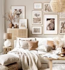 neutral gallery wall nature prints beige living room oak frames