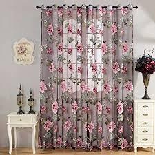 souarts strauchpäonie muster blume transparent gardine vorhang schlaufenschal deko für wohnzimmer schlafzimmer studierzimmer nur eine schal