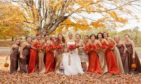 Autumn Inspired Bridesmaids Dresses Nbsp We Love How The Colors Of Bridesmaid