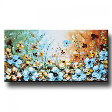 giclee print abstract painting blue flowers poppies modern