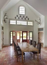 Dining Room Design Ideas Solid Wood Table Saltillo Tiles Floor