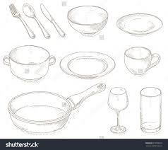 Dishes Retro Kitchen Accessories Clipart Objects Clean Beautifully