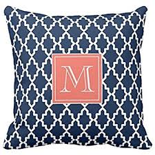 Coral Colored Decorative Items by Amazon Com Navy Blue Moroccan Coral Monogram Pillow Personalized