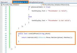 valid phone number how to validate a phone number in xamarin android app using visual