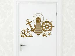 details zu wandtattoo badezimmer tür beschriftung bad maritim aufkleber leuchtturm anker