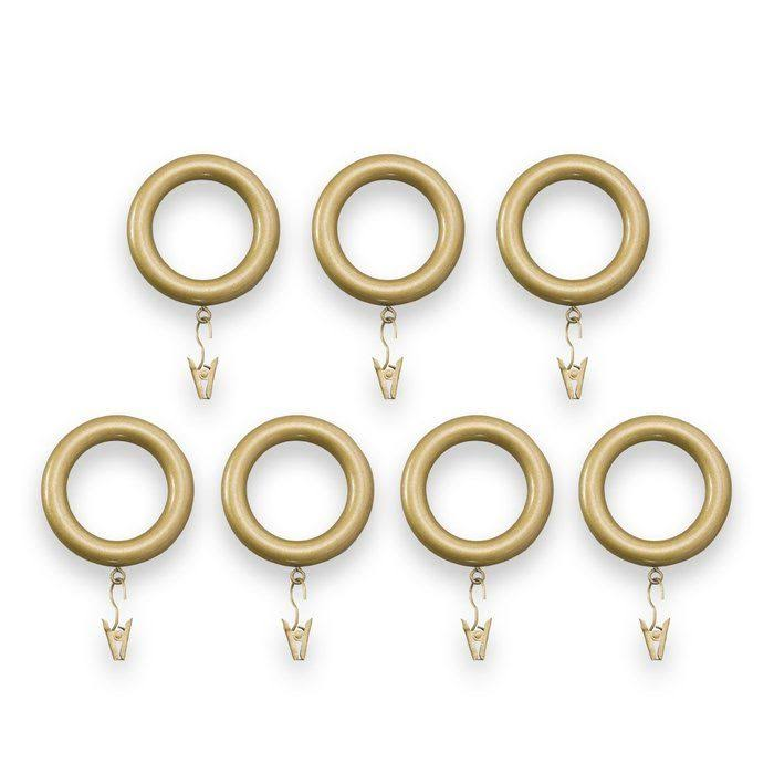 Bold Pole Curtain Rod Rings (Pack of 7), Gold