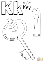 Letter K Is For Key Coloring Page Throughout