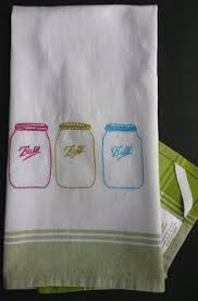 Embroidered Mason Jar Tea Towel Hand Ball Country Style