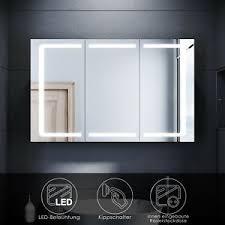 details zu led spiegelschrank bad mit beleuchtung badspiegel steckdose kippschalter 105cm