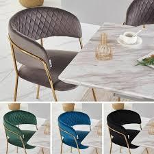 grauer samt ess stühle mit gold beine modern esszimmerstuhl